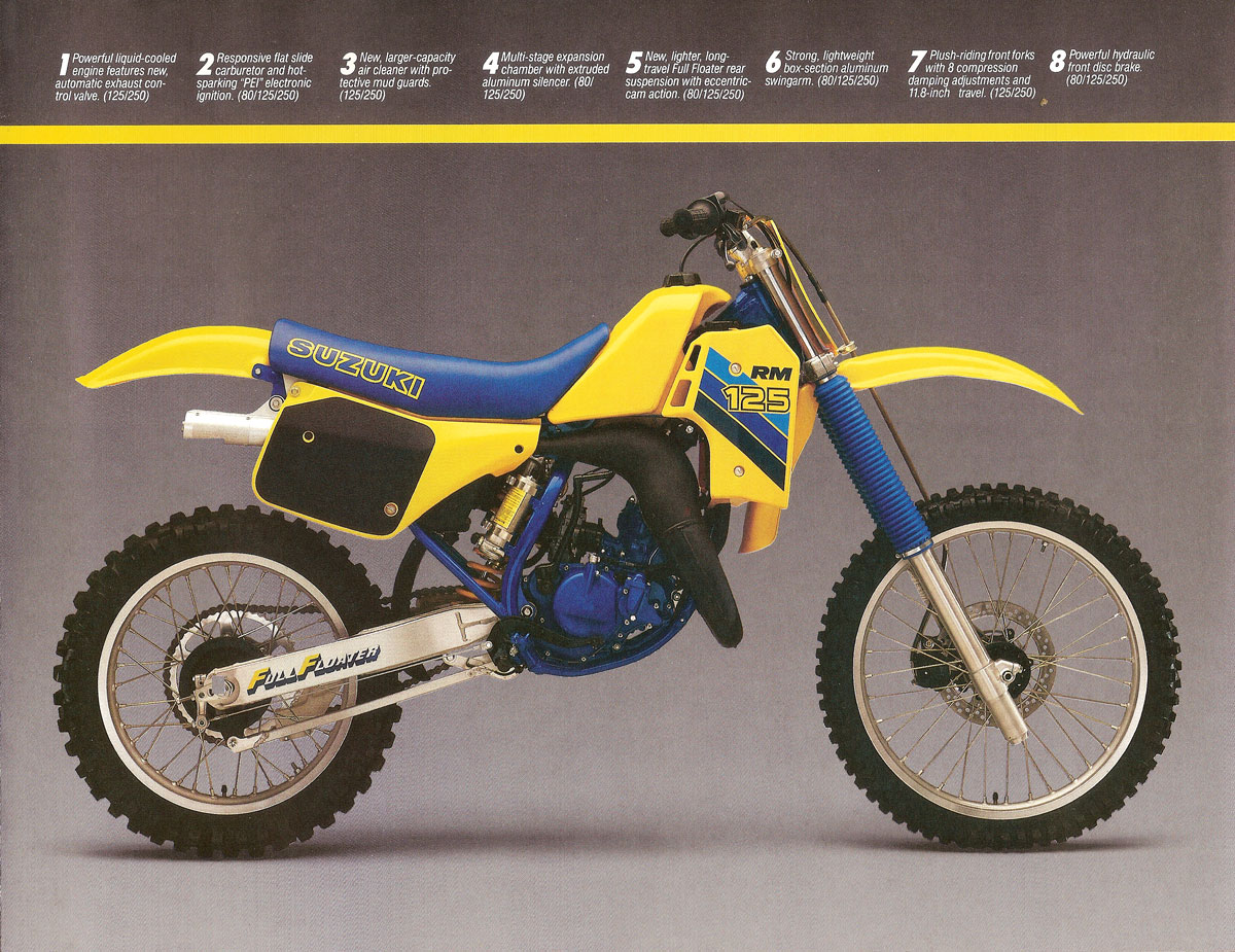 1986 suzuki rm 80 125 250 brochure full floater suzuki rm vintage motocross. Black Bedroom Furniture Sets. Home Design Ideas